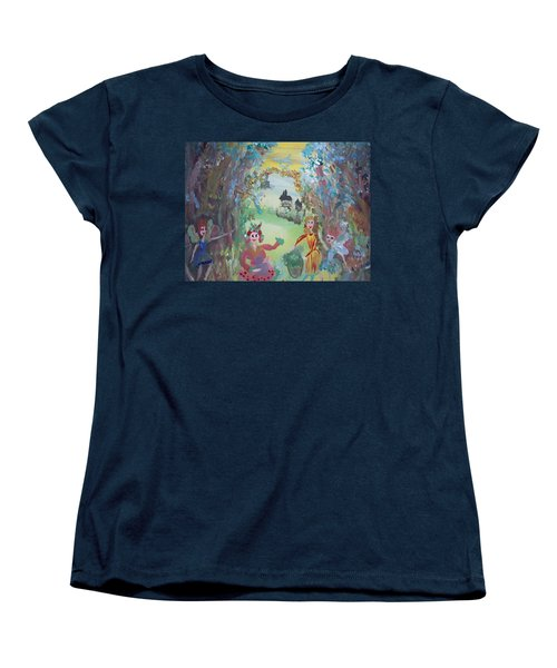 Women's T-Shirt (Standard Cut) featuring the painting Panto Time by Judith Desrosiers