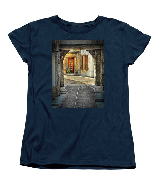 Women's T-Shirt (Standard Cut) featuring the photograph Passageway And Arch In Provence by Dave Mills