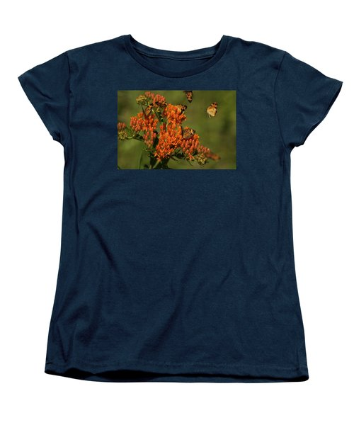 Women's T-Shirt (Standard Cut) featuring the photograph Pearly Crescentpot Butterflies Landing On Butterfly Milkweed by Daniel Reed