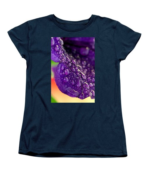 Women's T-Shirt (Standard Cut) featuring the photograph Petunia Raindrops by Suzanne Stout
