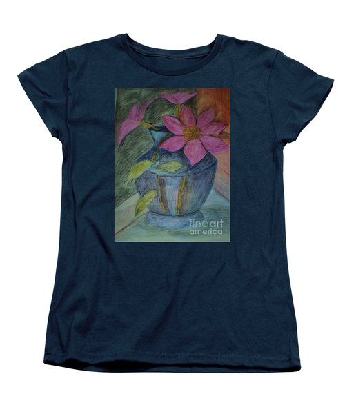 Pink Flowers In Blue Vase Women's T-Shirt (Standard Cut) by Christy Saunders Church
