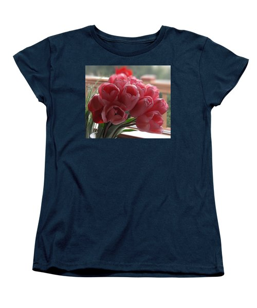 Pink Tulips In Vase Women's T-Shirt (Standard Cut) by Katie Wing Vigil