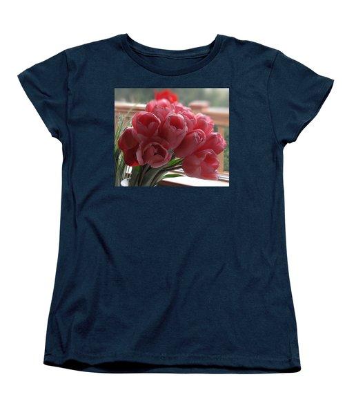 Pink Tulips In Vase Women's T-Shirt (Standard Cut)