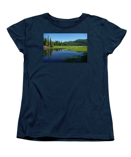 Women's T-Shirt (Standard Cut) featuring the photograph Pond Reflection by Marilyn Wilson