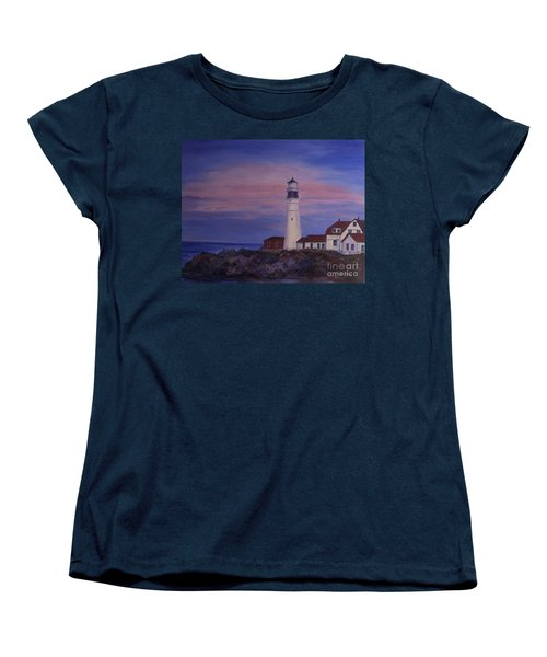 Women's T-Shirt (Standard Cut) featuring the painting Portland Head Lighthouse At Dawn by Julie Brugh Riffey