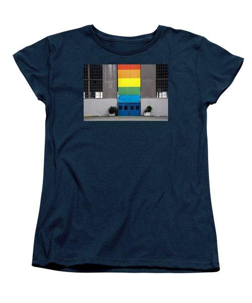 Women's T-Shirt (Standard Cut) featuring the photograph Rainbow Banner Building by Kathleen Grace