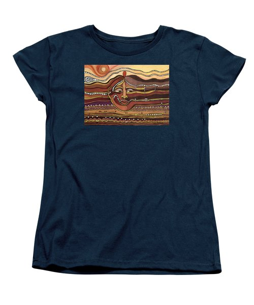 Red Aztec Face In Nature Landscape Abstract Fantasy With Earth Colors Sunset And Skyline Women's T-Shirt (Standard Cut) by Rachel Hershkovitz