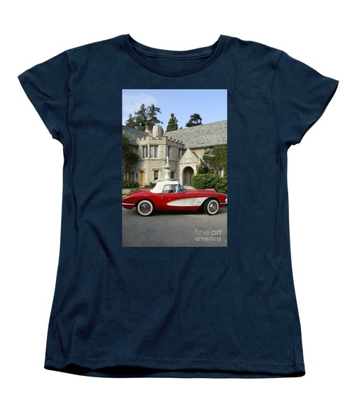 Red Corvette Outside The Playboy Mansion Women's T-Shirt (Standard Cut) by Nina Prommer