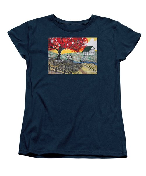 Women's T-Shirt (Standard Cut) featuring the painting Red Maple  Swing by Jeffrey Koss