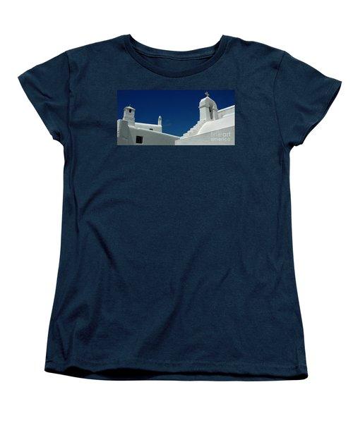Women's T-Shirt (Standard Cut) featuring the photograph Rooftops Of Mykonos by Vivian Christopher