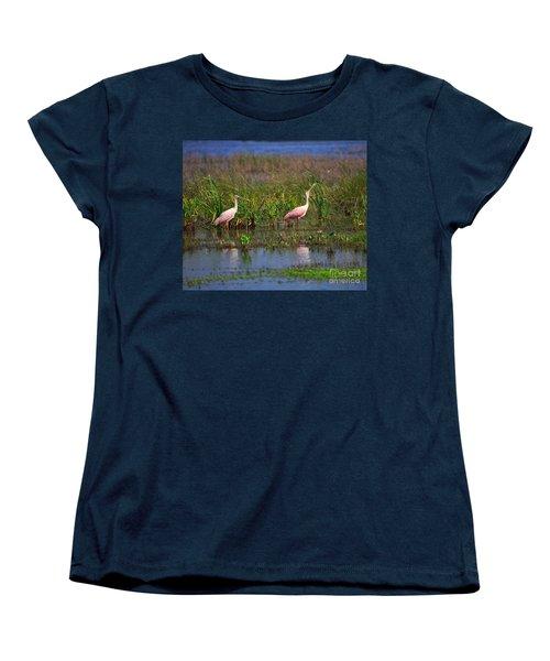 Roseate Spoonbills Women's T-Shirt (Standard Cut) by Louise Heusinkveld