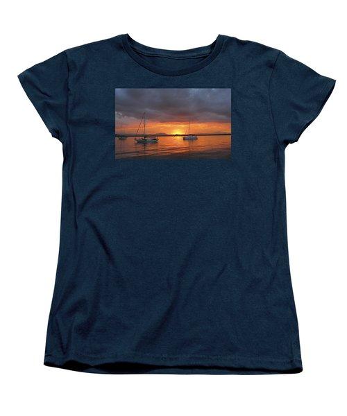 Sailboats At Anchor Women's T-Shirt (Standard Cut) by Anne Mott