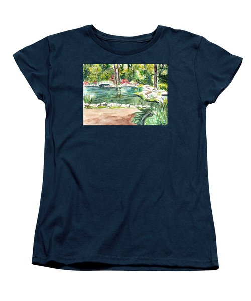 Women's T-Shirt (Standard Cut) featuring the painting Sayen Pond by Clara Sue Beym
