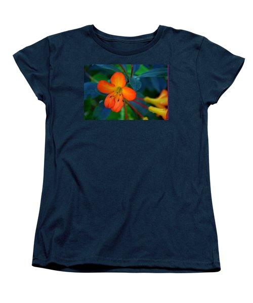 Small Orange Flower Women's T-Shirt (Standard Cut) by Tikvah's Hope