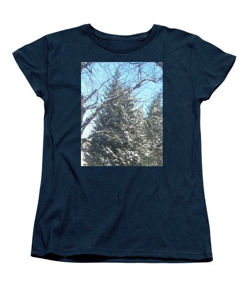 Women's T-Shirt (Standard Cut) featuring the photograph Snow Sprinkled Pine by Pamela Hyde Wilson