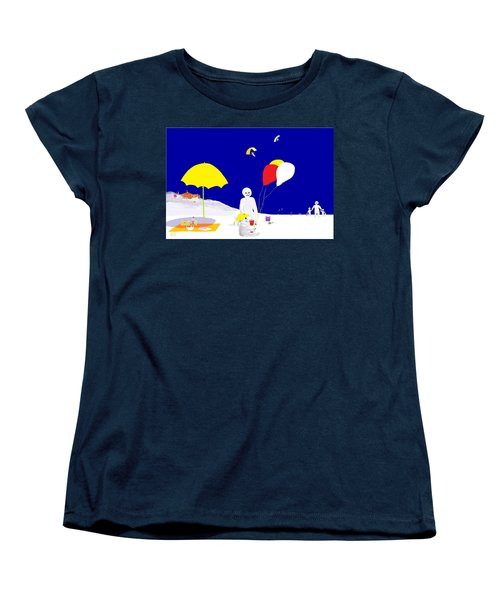 Women's T-Shirt (Standard Cut) featuring the digital art Snowman Family Holiday by Barbara Moignard