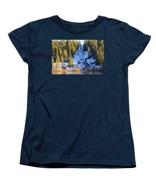 Women's T-Shirt (Standard Cut) featuring the photograph Snowy Heart Falls by Lynn Bauer