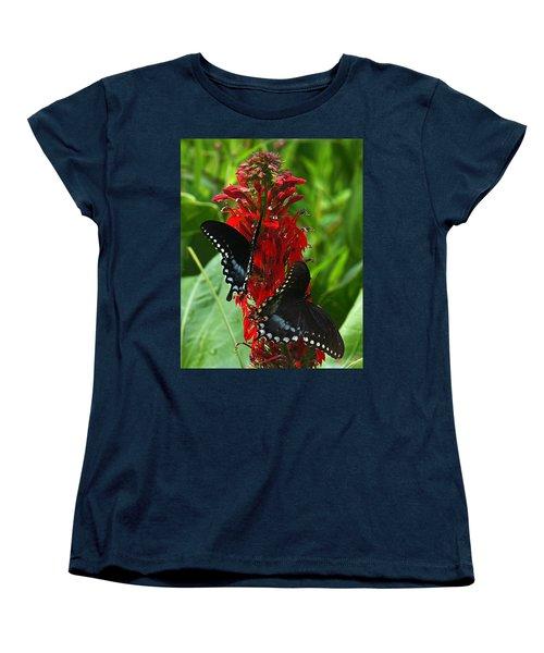 Spicebush Swallowtails Visiting Cardinal Lobelia Din041 Women's T-Shirt (Standard Cut) by Gerry Gantt