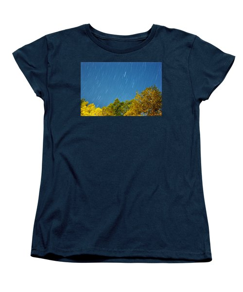 Women's T-Shirt (Standard Cut) featuring the photograph Star Trails On A Blue Sky by Kay Lovingood
