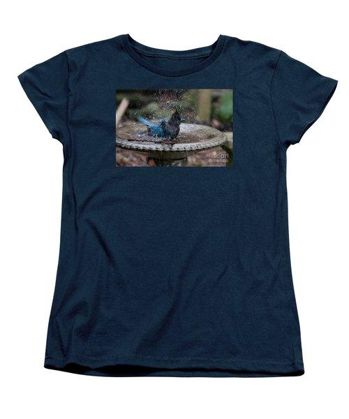 Women's T-Shirt (Standard Cut) featuring the digital art Stellar Jay In The Birdbath by Carol Ailles