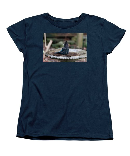 Women's T-Shirt (Standard Cut) featuring the digital art Steller Jay In The Birdbath by Carol Ailles