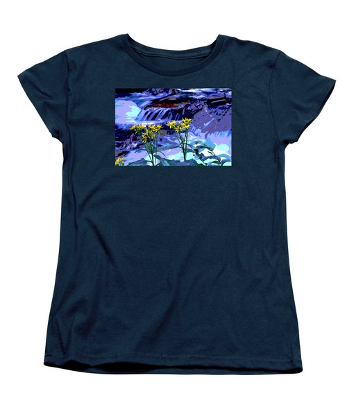 Stream And Flowers Women's T-Shirt (Standard Cut) by Zawhaus Photography