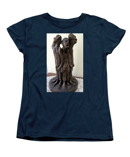 Suffering Circle In Bronze Sculpture Men In Rugs Standing In A Circle With Suffering Faces Crying  Women's T-Shirt (Standard Cut) by Rachel Hershkovitz