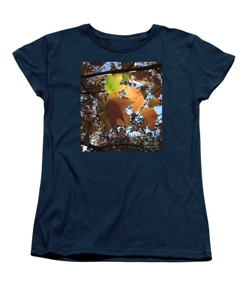 Women's T-Shirt (Standard Cut) featuring the photograph Sun-lite Fall Leaves by Donna Brown