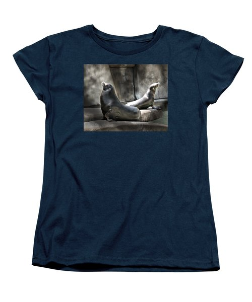 Women's T-Shirt (Standard Cut) featuring the photograph Sunbathing Seals by Mary Almond