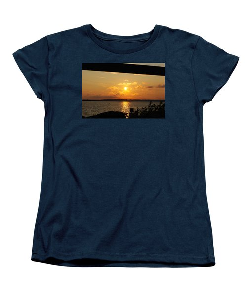 Women's T-Shirt (Standard Cut) featuring the photograph Sunset Through The Rails by Michael Frank Jr