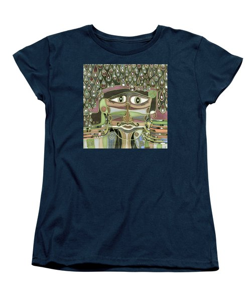 Surprize Drops Surrealistic Green Brown Face With  Liquid Drops Large Eyes Mustache  Women's T-Shirt (Standard Cut) by Rachel Hershkovitz