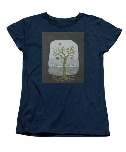 Surreal Landscape Framed  With Tree Falling Leaves Moon Mountain Sky   Women's T-Shirt (Standard Cut) by Rachel Hershkovitz