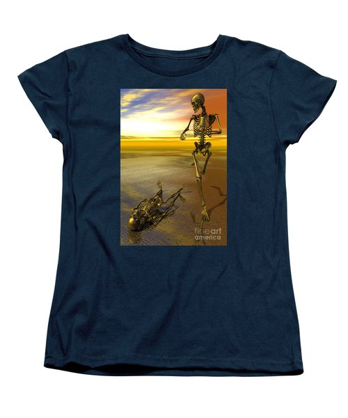Surreal Skeleton Jogging Past Prone Skeleton With Sunset Women's T-Shirt (Standard Cut) by Nicholas Burningham