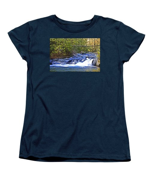 Women's T-Shirt (Standard Cut) featuring the photograph Swiftly Flowing River by Susan Leggett