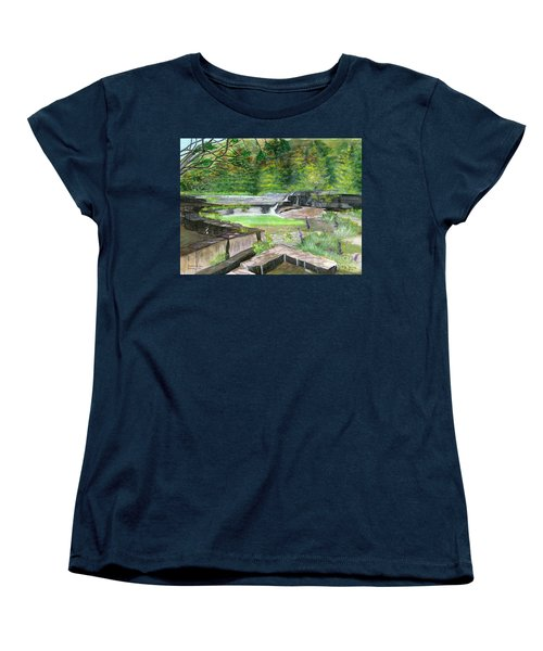 Women's T-Shirt (Standard Cut) featuring the painting Taughannock Vista Ithaca New York by Melly Terpening