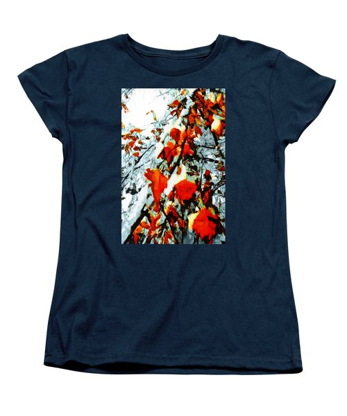 Women's T-Shirt (Standard Cut) featuring the photograph The Autumn Leaves And Winter Snow by Steve Taylor