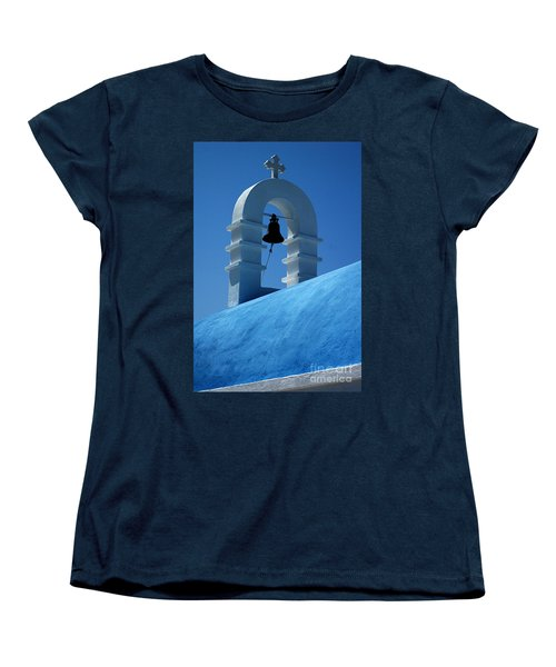 Women's T-Shirt (Standard Cut) featuring the photograph The Bell Tower In Mykonos by Vivian Christopher
