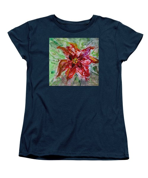 Women's T-Shirt (Standard Cut) featuring the painting The Christmas Poinsettia by Dragica  Micki Fortuna