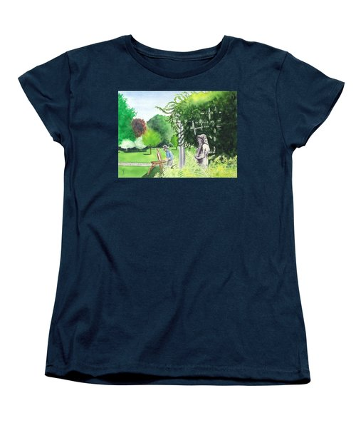 Women's T-Shirt (Standard Cut) featuring the painting the garden at the wellers carriage house in Saline  Michigan 1 by Yoshiko Mishina