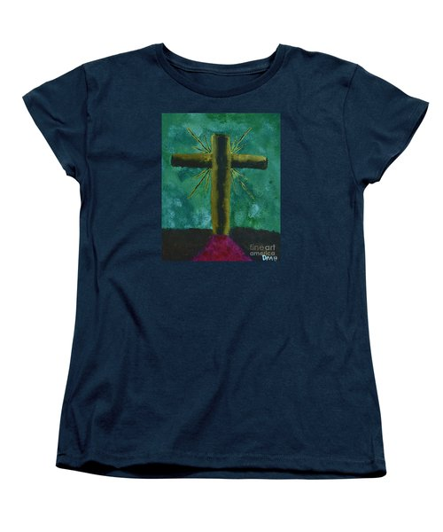 Women's T-Shirt (Standard Cut) featuring the painting The Old Rugged Cross by Donna Brown