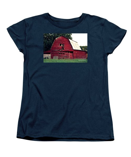 Women's T-Shirt (Standard Cut) featuring the photograph The Ole Red Barn by Kathy  White