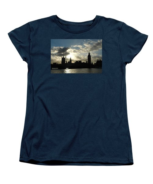 The Outline Of Big Ben And Westminster And Other Buildings At Sunset Women's T-Shirt (Standard Cut) by Ashish Agarwal