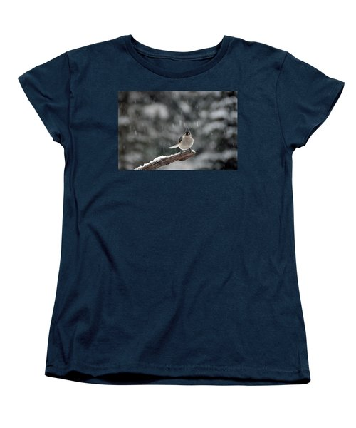 Women's T-Shirt (Standard Cut) featuring the photograph Titmouse Endures Snowstorm by Mike Martin