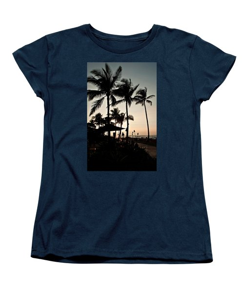 Women's T-Shirt (Standard Cut) featuring the photograph Tropical Island Silhouette Beach Sunset by Valerie Garner