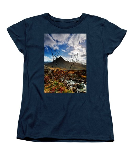 Women's T-Shirt (Standard Cut) featuring the photograph Tryfan And Tree by Beverly Cash