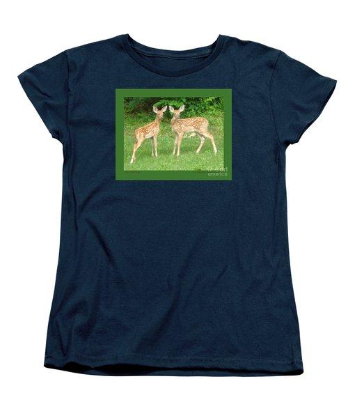 Two Little Deer Women's T-Shirt (Standard Cut) by Patricia Overmoyer