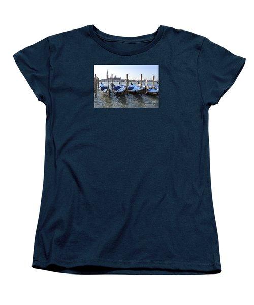 Women's T-Shirt (Standard Cut) featuring the photograph Venice Gondolas by Rebecca Margraf