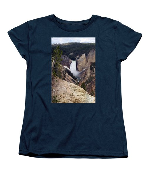 Vertical Lower Falls Of Yellowstone Women's T-Shirt (Standard Cut) by Living Color Photography Lorraine Lynch