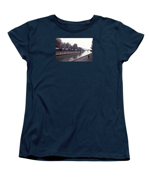 Women's T-Shirt (Standard Cut) featuring the photograph Walking The Dog Along The Seine by Tom Wurl