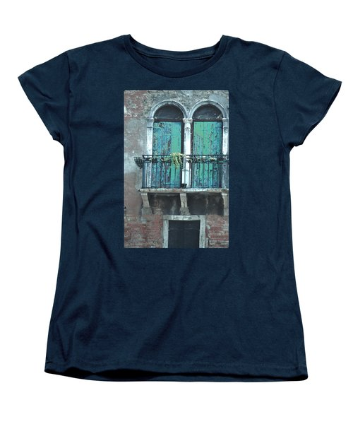 Women's T-Shirt (Standard Cut) featuring the photograph Weathered Venice Porch by Tom Wurl